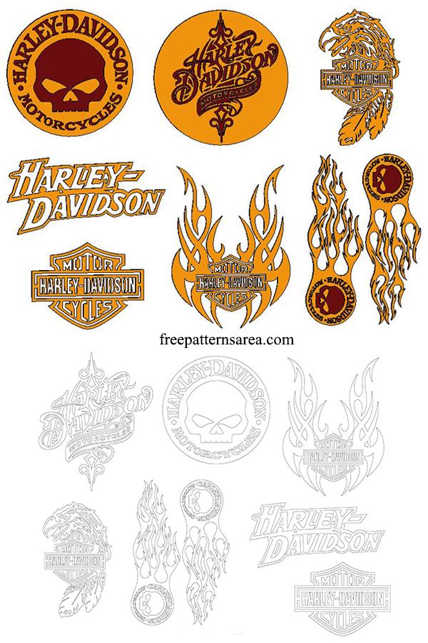 Burning Harley Davidson Wood Emblem Plaque Carving