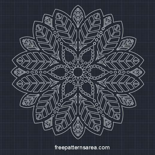 Decorative Leaf Ornament Autocad Desing Free 2D Cam Design