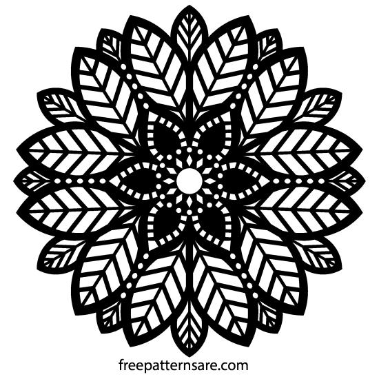 Decorative Leaf Ornament Mandala Stencil Vector