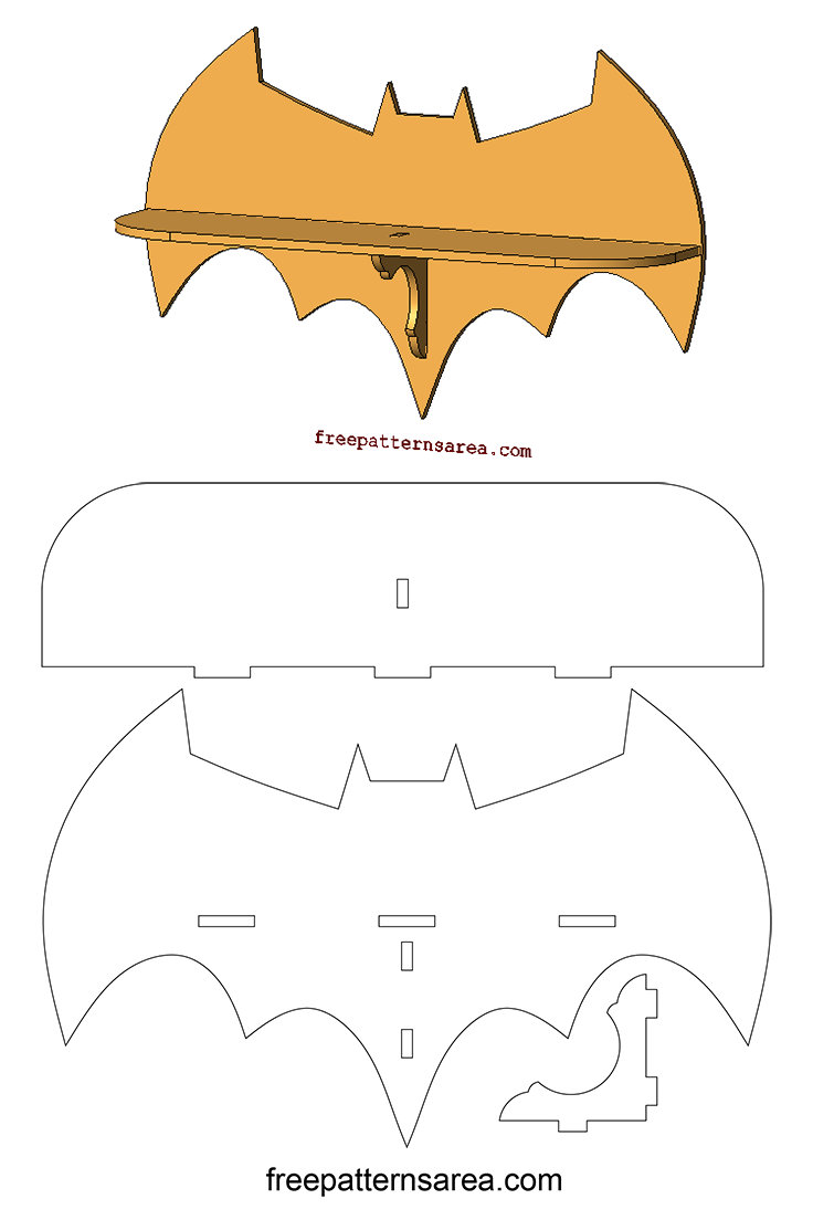 Batman Wall Shelf Scroll Saw Woodworking PDF Template