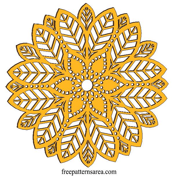 Wood Leaf Mandala Ornament CNC Laser Cut Desing