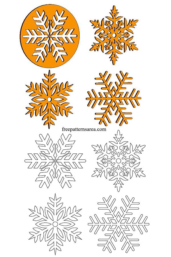 Printable Snowflake Simple Cutouts Pattern