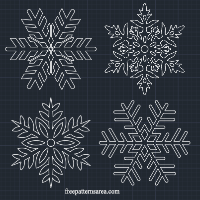 Snowflake Autocad dwg dxf file