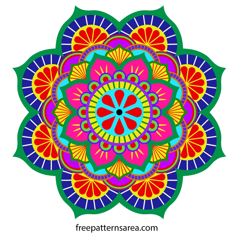 Circle Flower Mandala Colorful EPS Graphic Design Image