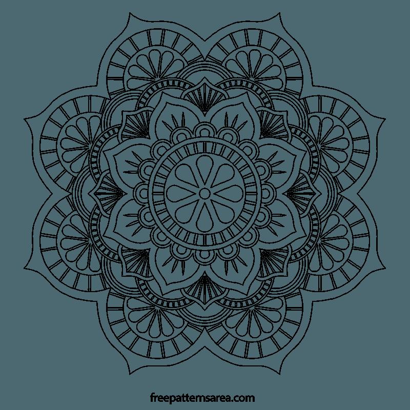 Black And White Floral Mandala Coloring Image