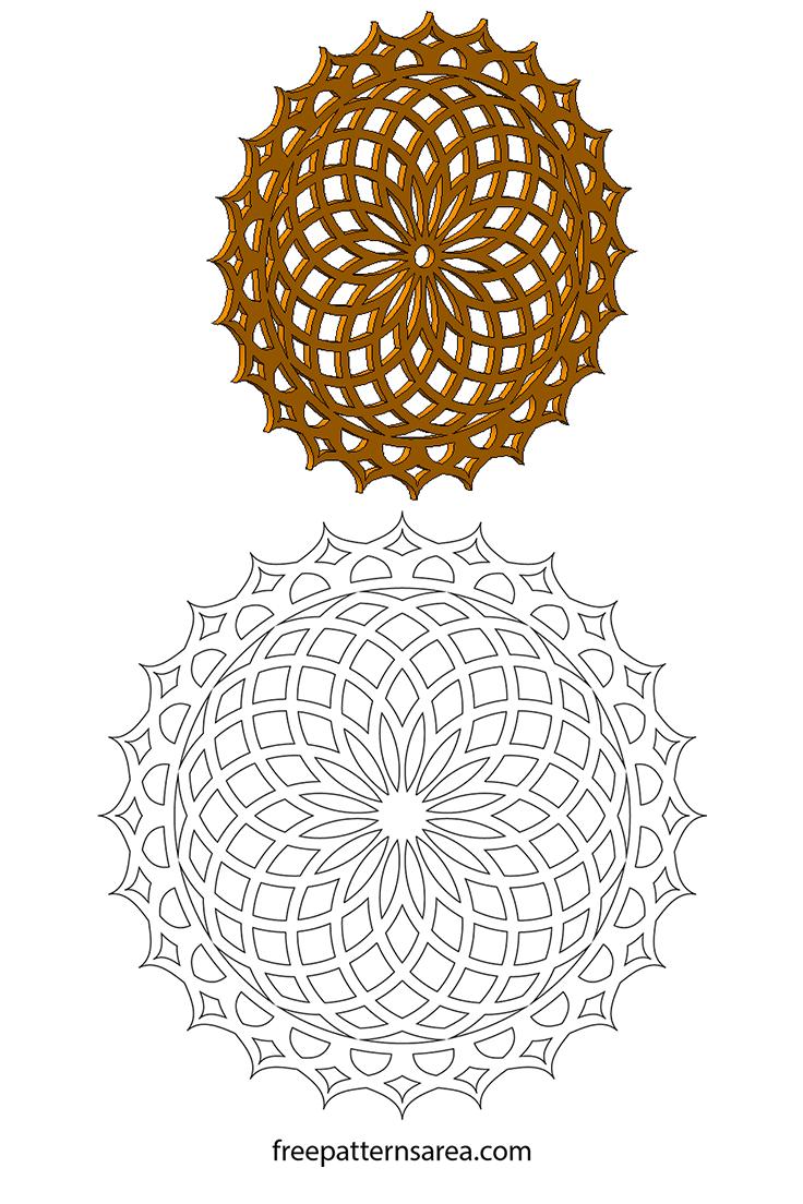 Geometric Lotus Mandala Laser Cut Wood Vector Pattern