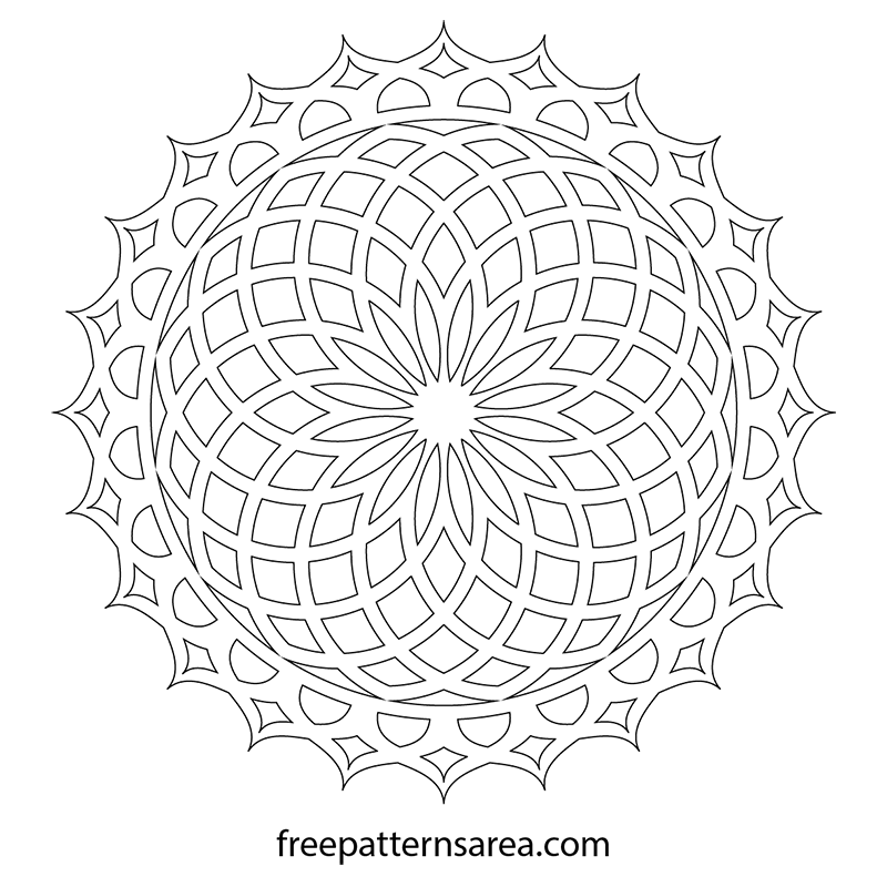 Geometric Circle Lotus Mandala Template