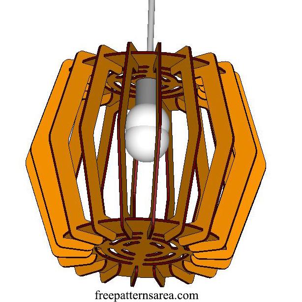 Hanging Pendant Light Fixture Design for Laser Cut