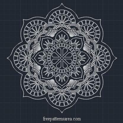 Floral Mandala Autocad dxf-dwg Fles