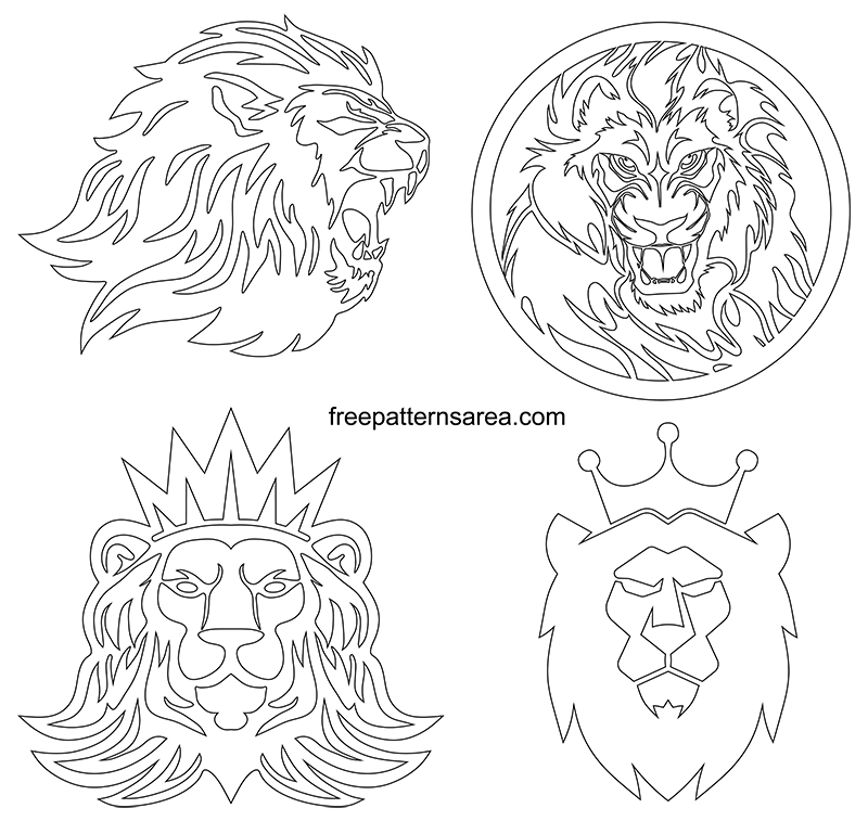 Lion Head Graphic Art Black Vectors Hd