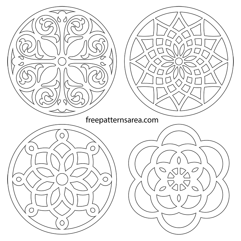 Printable Free Scroll Saw Circle Trivet Coaster PDF Patterns