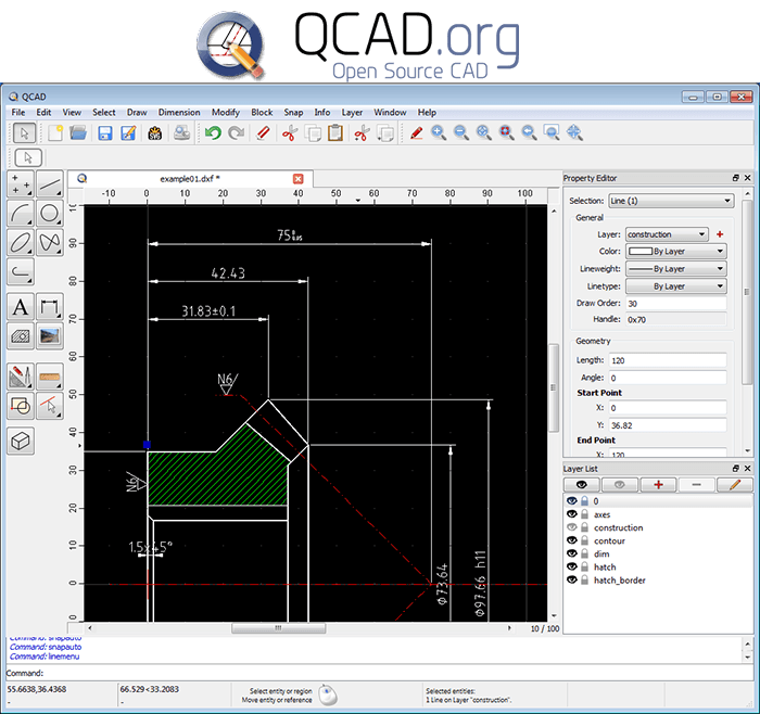 QCAD Free 2D CAD Drawing Software