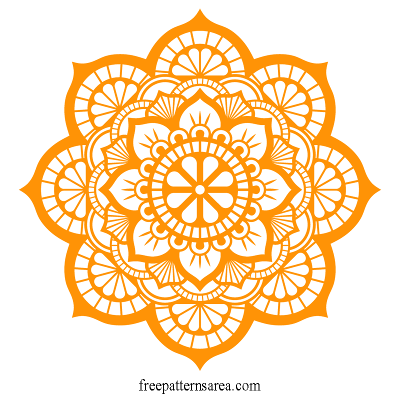 Transparent Mandala Silhouette Free SVG File
