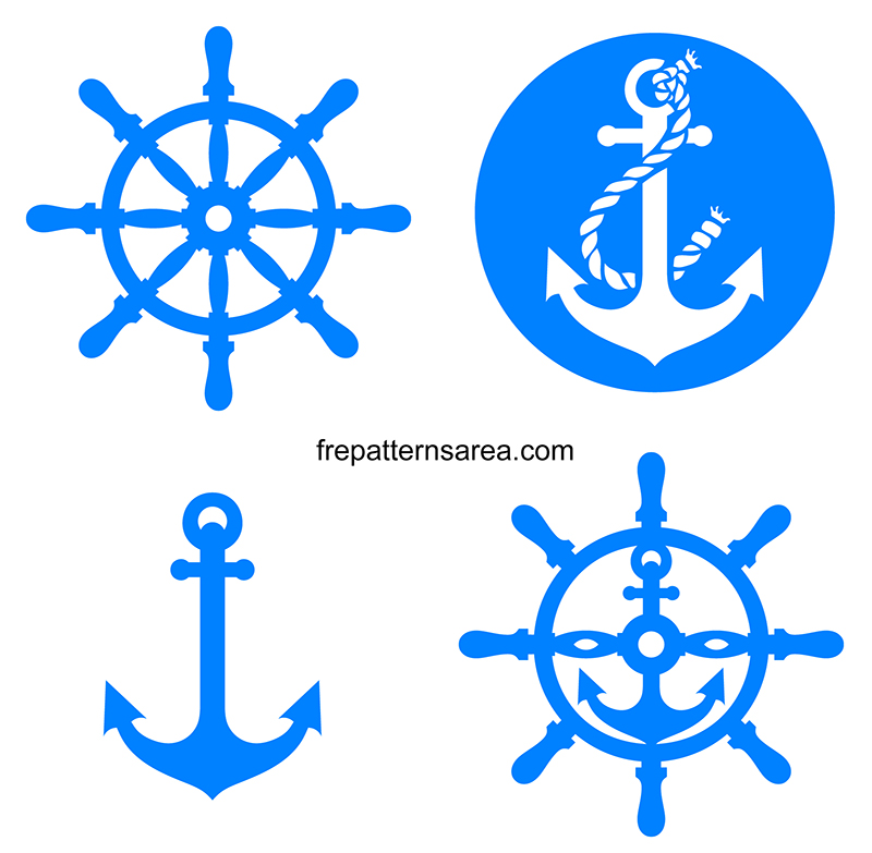 Meaning Of Anchor And Rudder Symbol And Free Vector Patterns