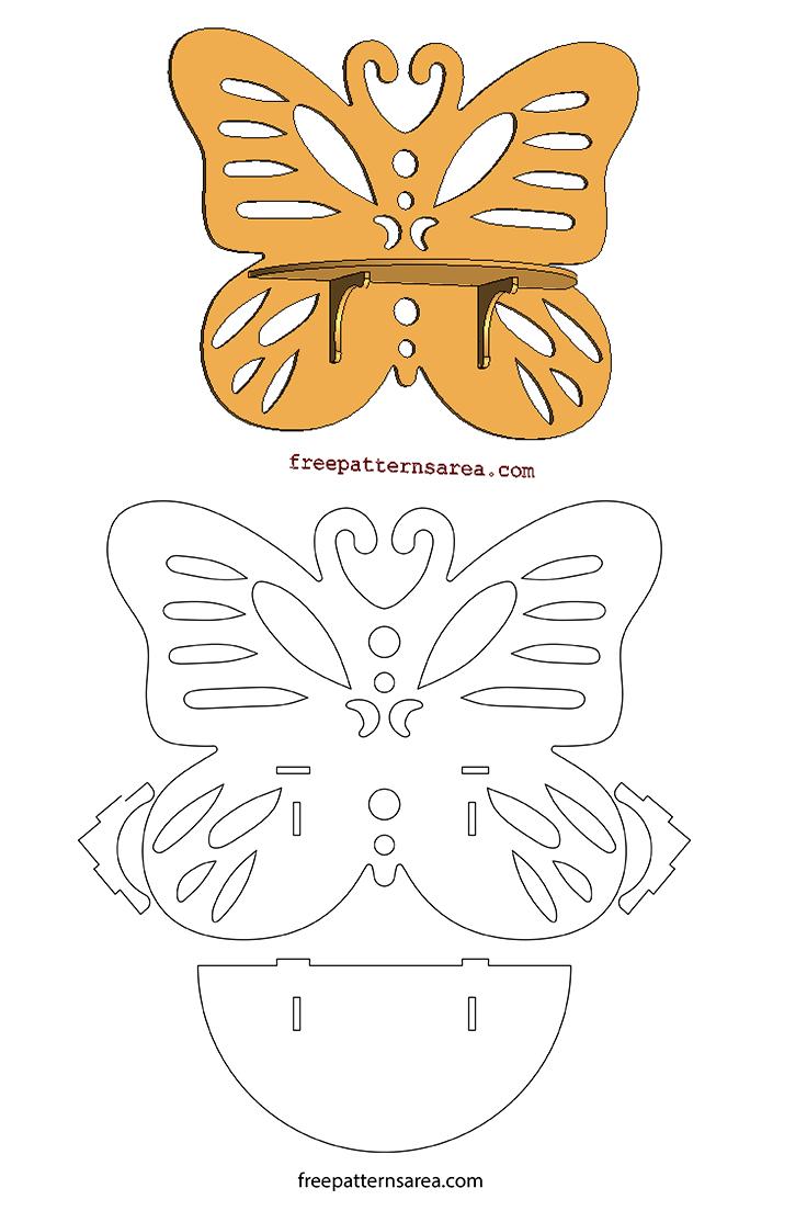 Butterfly Wood Wall Shelf Scroll Saw Pattern