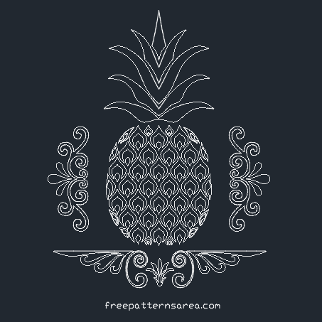 Pineapple 2D Autocad DWG DXF Stencil Files