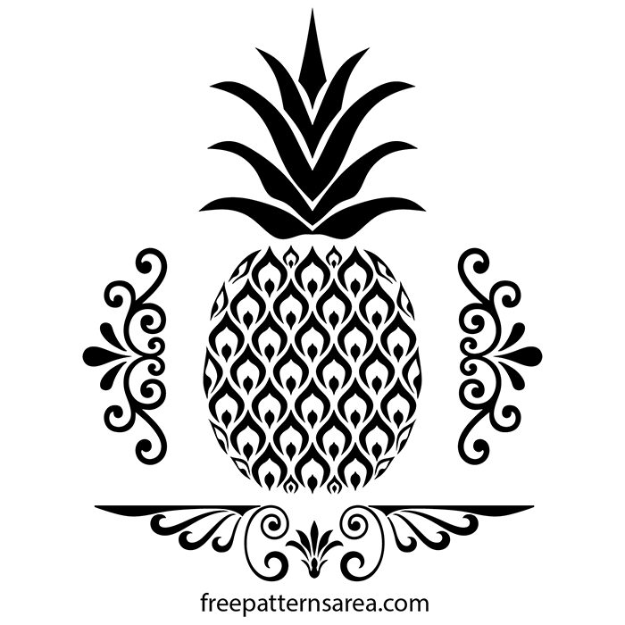 Free Pineapple Stencil Vector Image