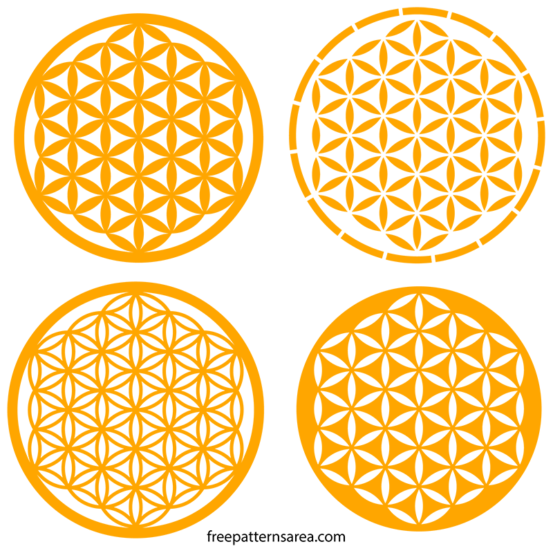 Geometry Flower of Life Stencil Silhouette SVG Images Free