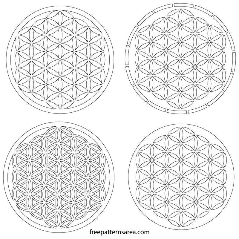 Sacred Geometric Flower of Life Free Cut Outs Pattern ...