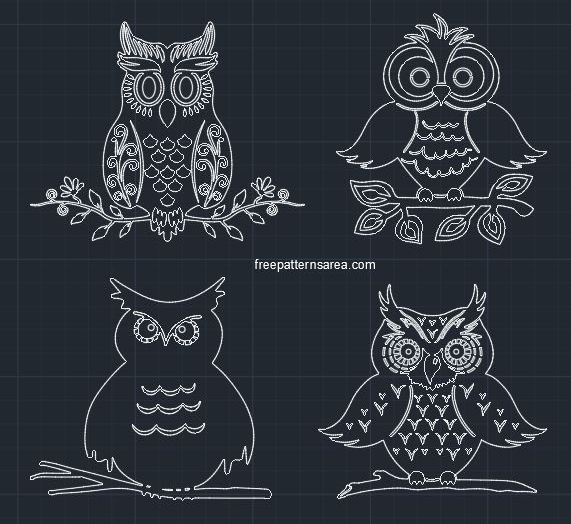 Owl Autocad DWG CAD Block File