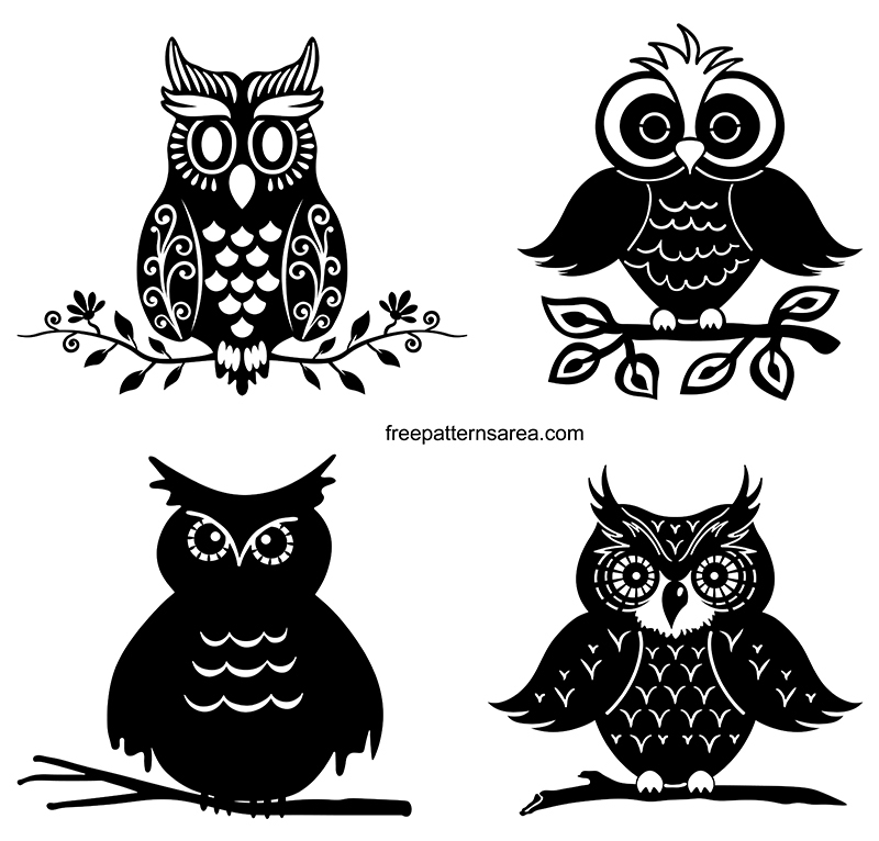 Owl Silhouette Design Vector Images