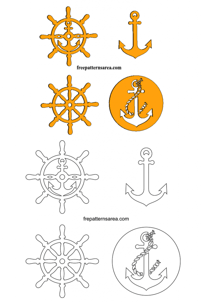 Wooden Anchor Rudder Laser Cut Template