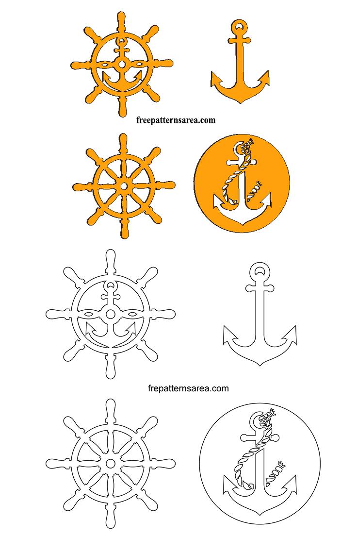 Wooden Anchor Rudder Scroll Saw PDF Template