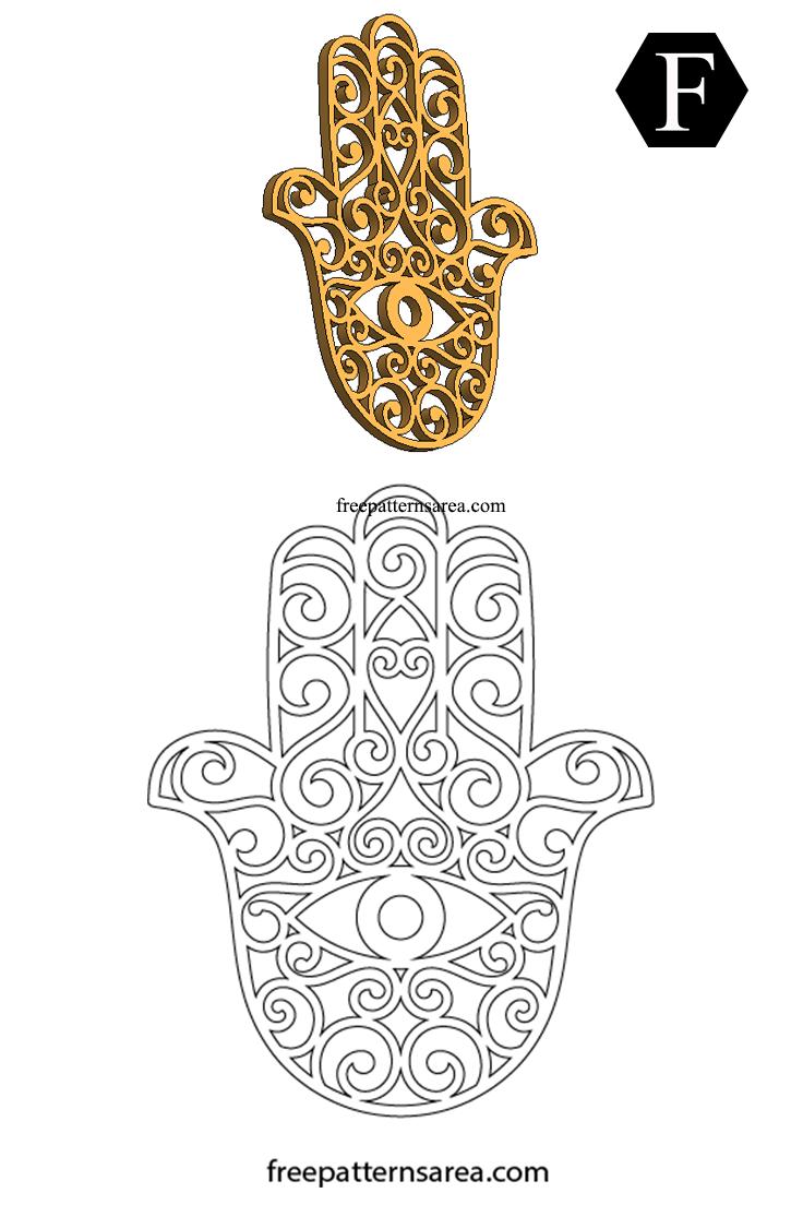 Hamsa Hand Symbol Free Scroll Saw Template Files