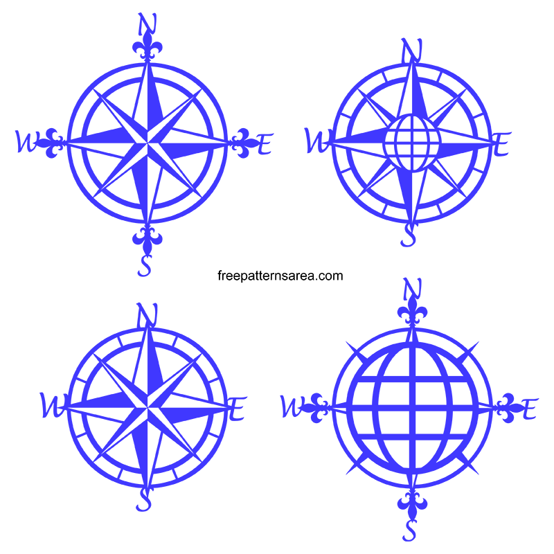 Free Svg File Format Compass Rose Silhouette
