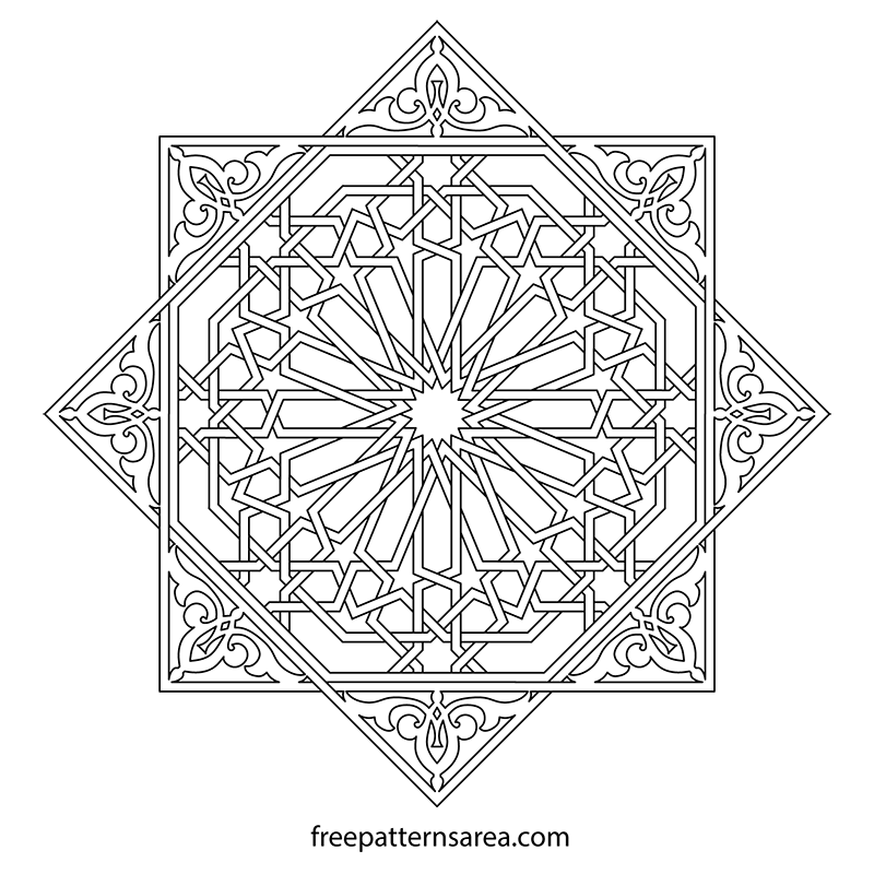 Islamic Geometric Drawing Tile Pattern