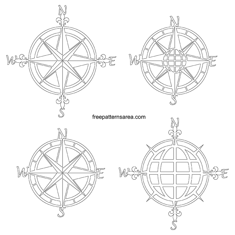 nautical compass rose laser cut metal wall art pattern