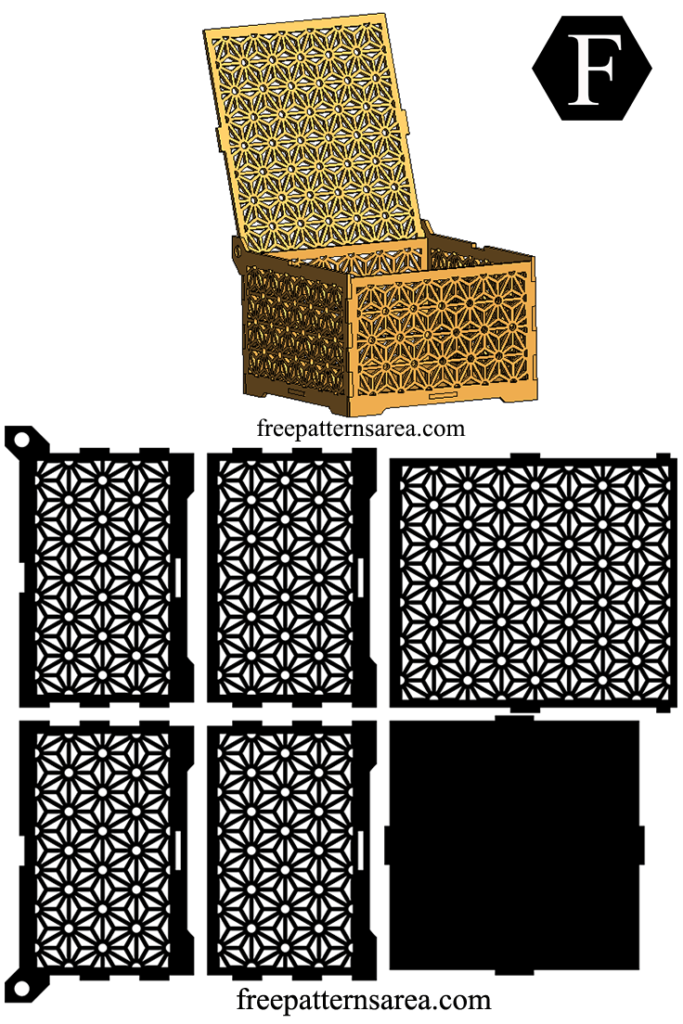 wooden laser cut box design with geometric flower ornament. Black Bedroom Furniture Sets. Home Design Ideas
