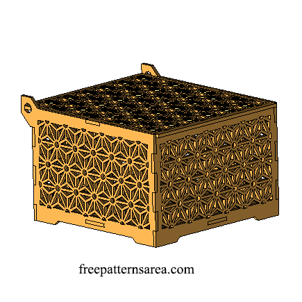 Wood Laser Cut Box Design With Geometric Flower Ornament