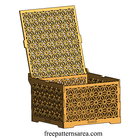 Wooden laser cut box design with geometric flower ornament for Laser cut wood box template