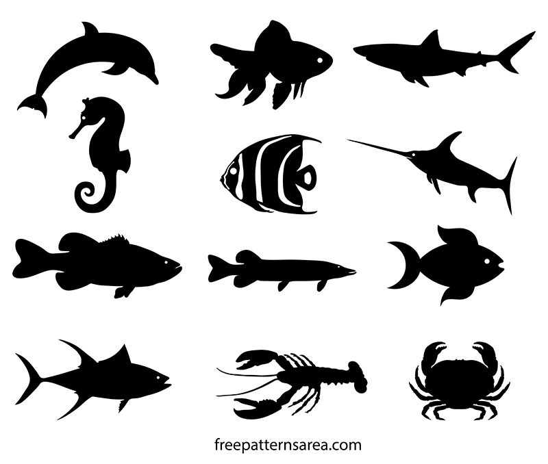 Fish Shapes Silhouette Stencil Clipart Vectors