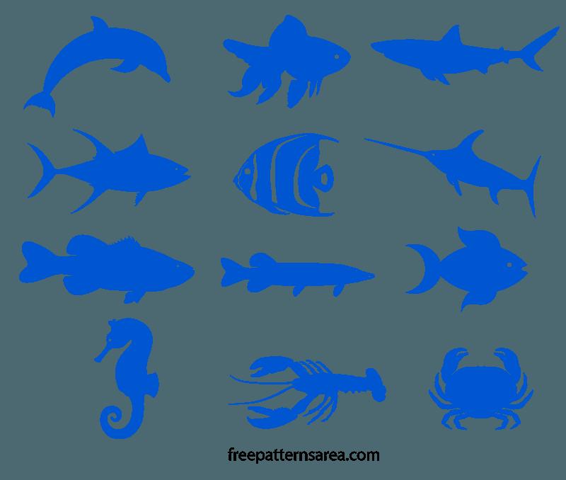 Fish Silhouette Free SVG Image Pattern