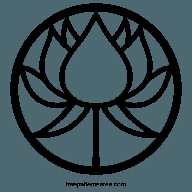 Circle Lotus Silhouette Symbol Vector