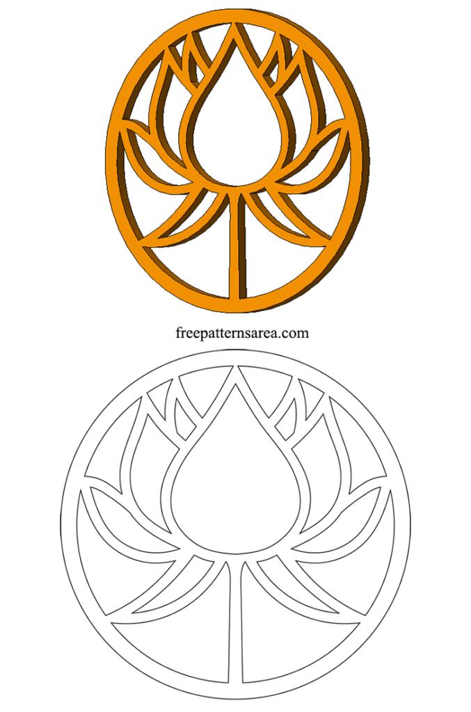 Scroll Saw Decorative Wooden Lotus Flower Pattern