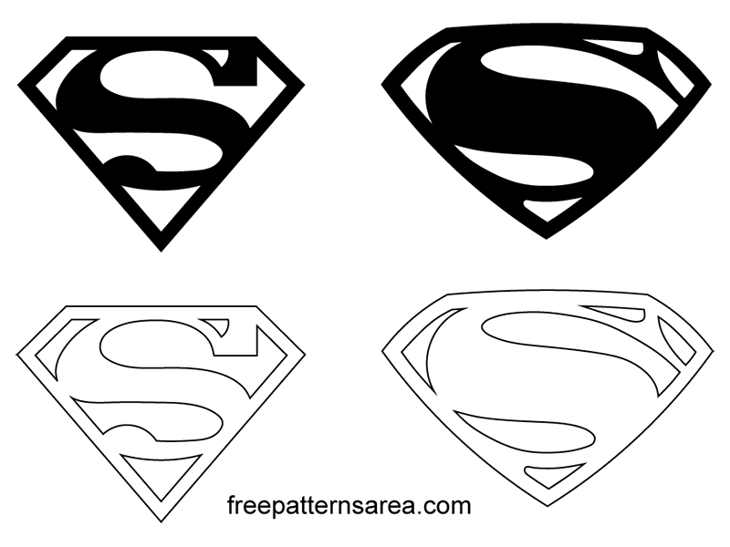 Printable Superman Logo Symbol Black Template