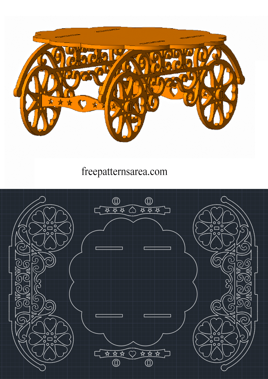 Free Cupcake Stand Design DXF DWG Files for CNC Laser Cutting