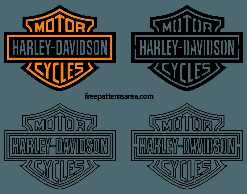 Harley Davidson Logo Emblem Stencil Vector