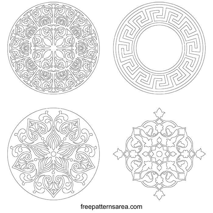 Circle Ornament Floral Die Cut Printing pdf Pattern