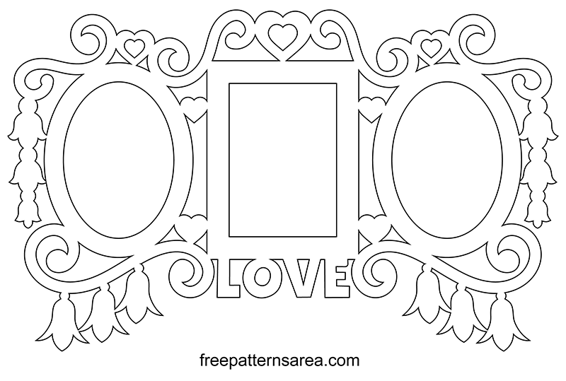 Printable Wall Photo Frame Template Scroll Saw Pattern