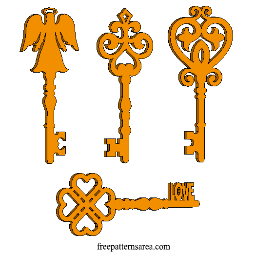Scroll Saw and Laser Cut Wooden Key Design
