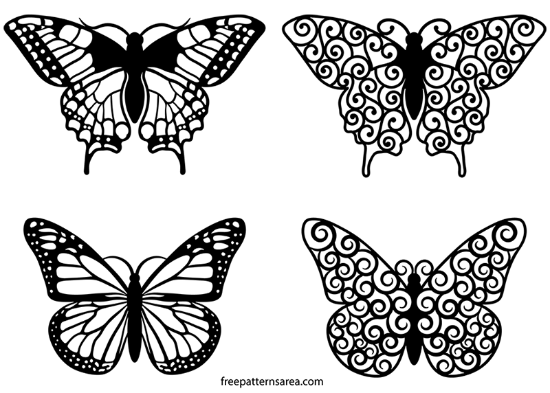 Butterfly Clipart Swirl Vector Files