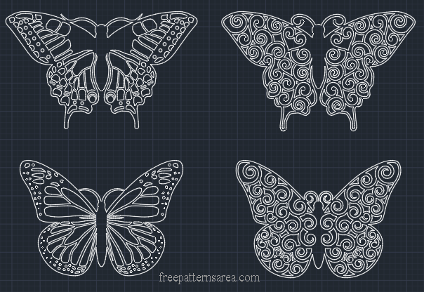 Butterfly Autocad dxf, dwg Files