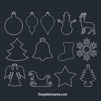 Christmas Ornaments dxf dwg Autocad File