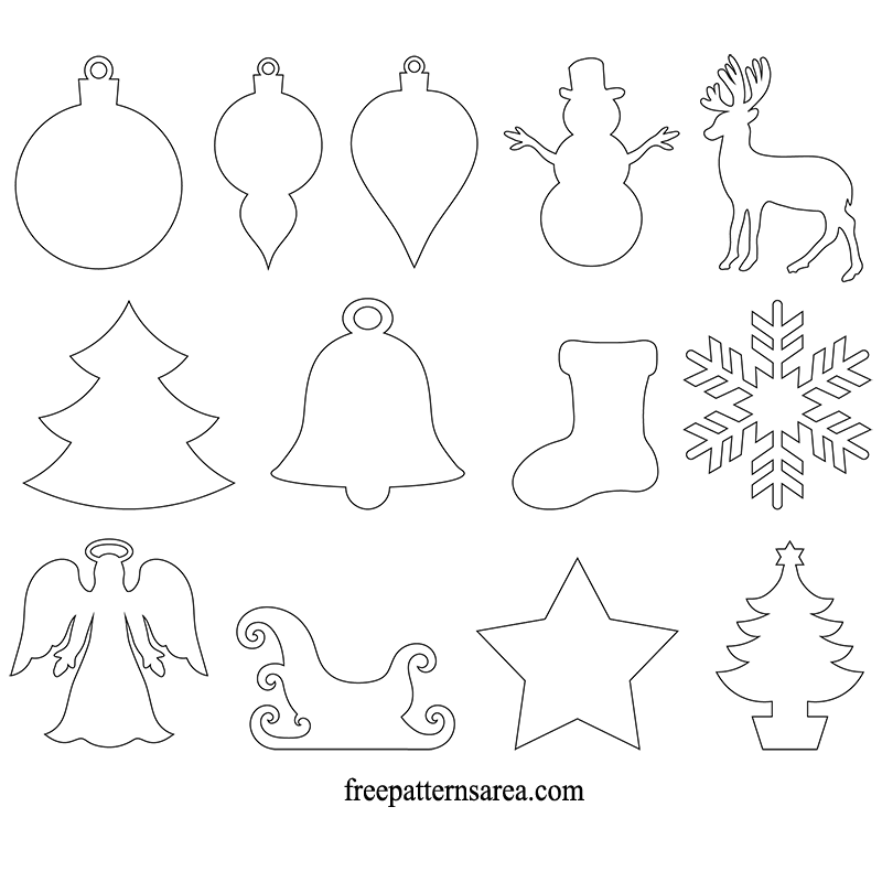 Winter and christmas ornament vector freepatternsarea for Templates for wood cutouts