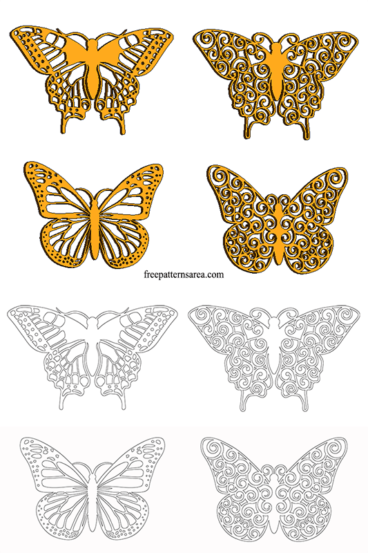 Wooden Butterfly Outline Crafts Template