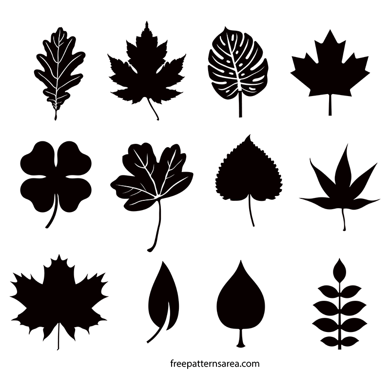 Black Leaf Vector Shapes